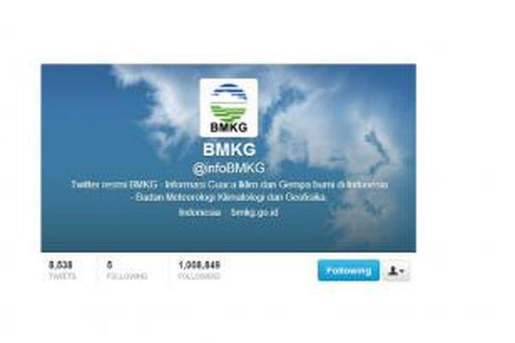 Akun Twitter BMKG kini memiliki lebih dari sejuta follower.