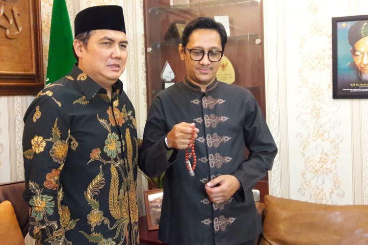 Andre Taulany berkunjung ke kantor PBNU, Kramat Raya, Jakarta Pusat, Rabu (8/5/2019).