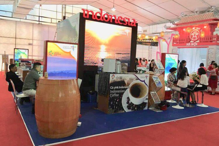Booth Wonderful Indonesia di Vietnam International Travel Mart (VITM) 2018, Hanoi, pada 29 Maret - 1 April 2018.