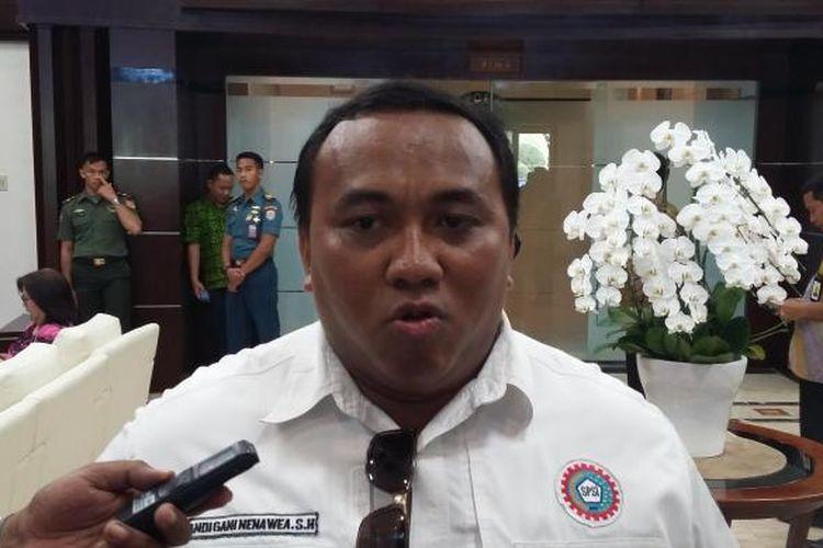 Presiden KSPSI Andi Gani, saat ditemui di Kantor Kemenko Polhukam, Jakarta Pusat, Rabu (2/9/2015).