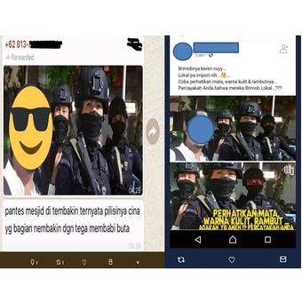 Tangkapan layar kabar adanya polisi dari China.