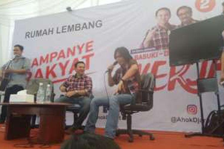 Cagub DKI Jakarta Basuki Tjahaja Purnama dan penyanyi Once di Rumah Lembang, Menteng, Selasa (6/12/2016).