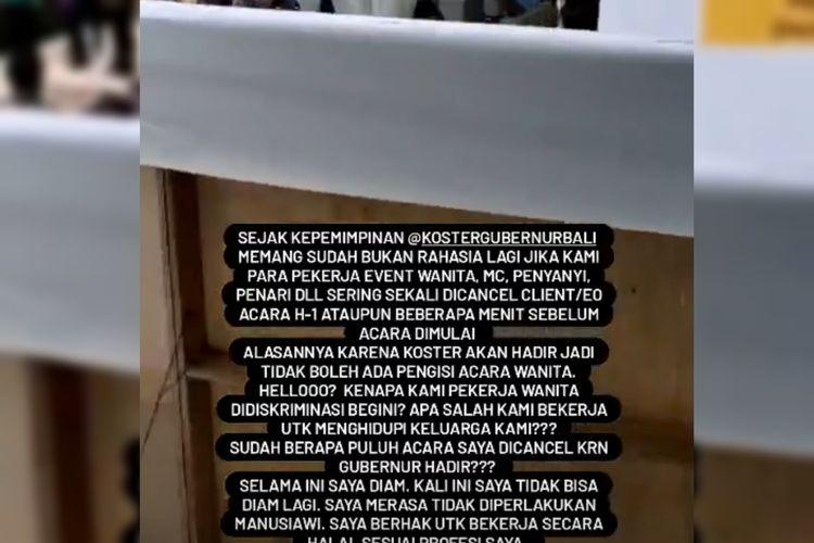Protes salah satu master of ceremony (MC) di Bali yang dikabarkan dilarang tampil secara fisik dalam acara yang dihadiri oleh Gubernur Bali Wayan Koster.
