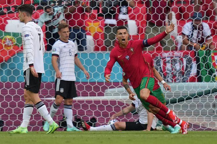 Cristiano Ronaldo usai mencetak gol dalam pertandingan Grup F Euro 2020 antara Portugal dan Jerman di Allianz Arena, Muenchen, Jerman, Sabtu (19/6/2021) malam WIB.