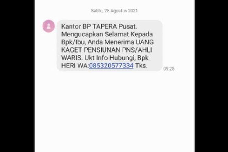 Tangkapan layar hoaks SMS uang kaget dana pensiun PNS mengatasnamakan BP Tapera