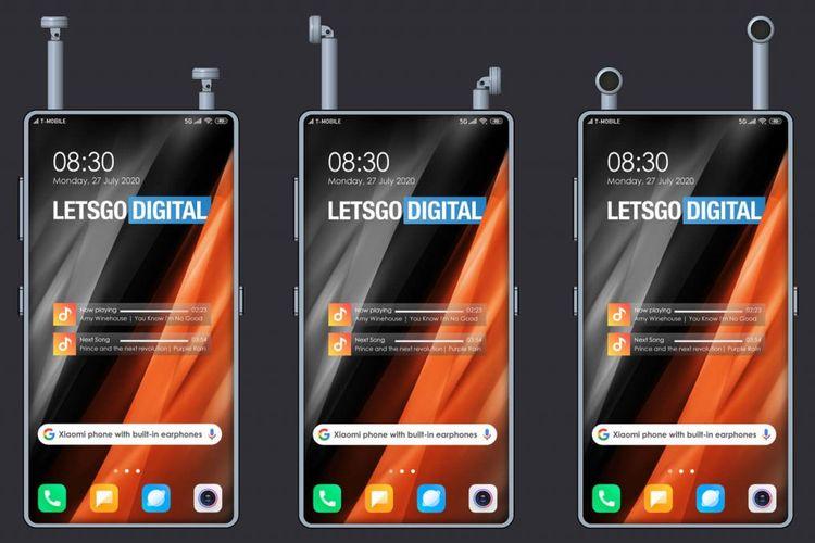 Ilustrasi ponsel Xiaomi yang dibekali dengan earphone TWS bawaan yang bisa dimasukkan ke dalam bodi ponsel.