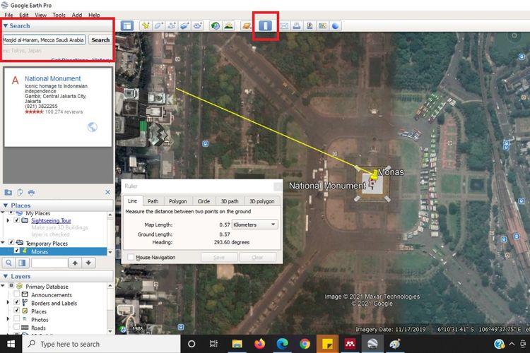 Cara menghitung jarak antar lokasi di Google Earth
