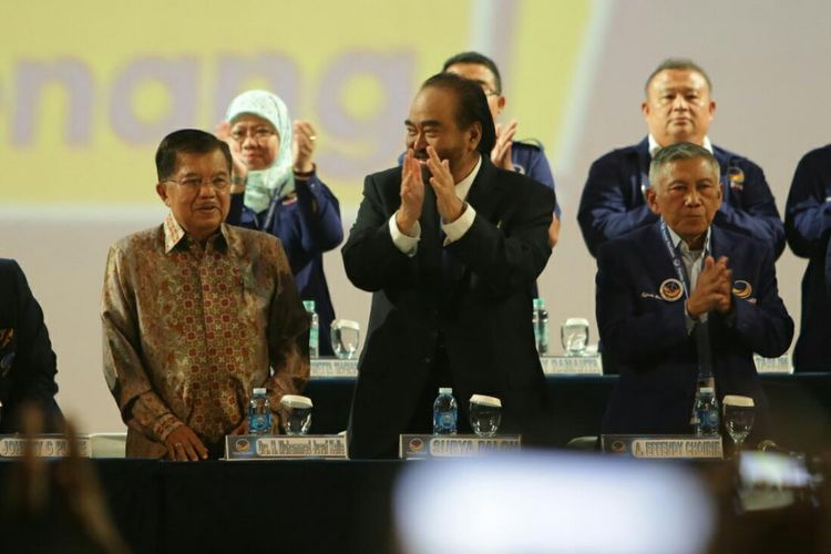 Wakil Presiden Jusuf Kalla saat hadir dalam Rapat Kerja Nasional (Rakernas) Partai NasDem ke-4 di JI-EXPO, Kemayoran Jakarta Pusat, Kamis (16/11/2017).