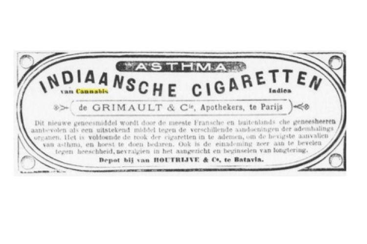 Iklan ganja pada koran Belanda abad 19. Ganja dinjanjikan bisa mengobati asma.