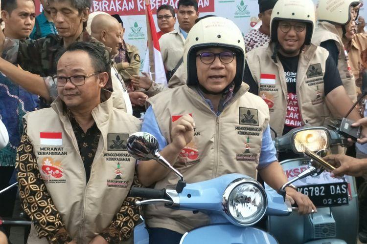 Ketua Umum Partai Amanat Nasional (PAN) Zulkifli Hasan ketika ditemui dalam sebuah acara di Gedung Pusat Dakwah Muhammadiyah, Jakarta, Sabtu (5/5/2018).