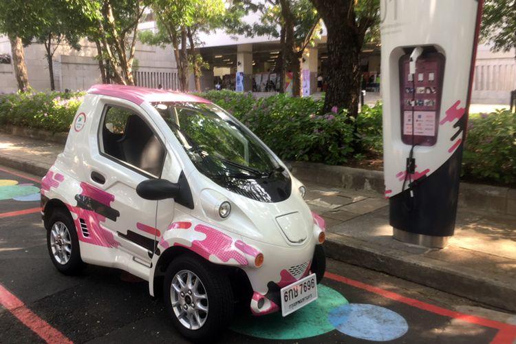 Ha:mo, akronim dari Harmonious Mobility Network, menciptakan sistem transportasi berbasis teknologi listrik untuk negara berkembang, dimulai dari kerja sama di dalam lingkungan Universitas Chulalongkorn, Bangkok, Thailand, Selasa (30/1/2018).