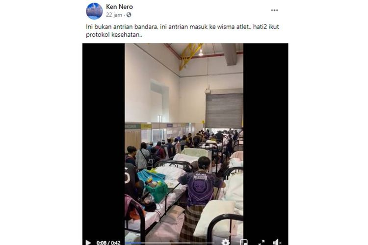 Beredar sebuah video dengan narasi antrean panjang terjadi di Rumah Sakit Darurat Wisma Atlet, Jakarta.