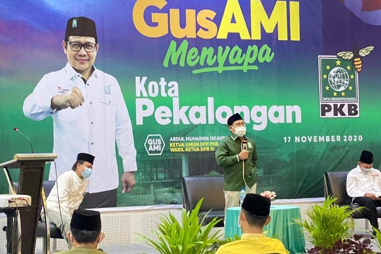 Ketua Umum DPP PKB Muhaimin Iskandar saat berada di Kota Pekalongan Jawa Tengah.