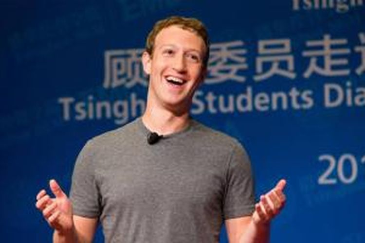 CEO Facebook Mark Zuckerberg saat berpidato di Tsinghua University, Beijing