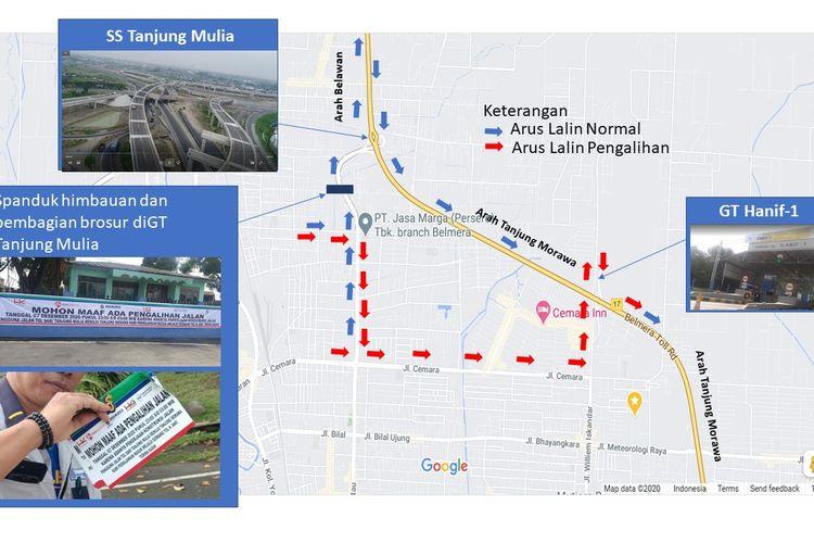 Jasa Marga lakukan pengalihan lalin kendaraan di Gerbang Tol Tanjung Mulia mulai Senin (07/12/2020) Pukul 23.00 WIB hingga Selasa (08/12/2020) pukul 03.00 WIB.