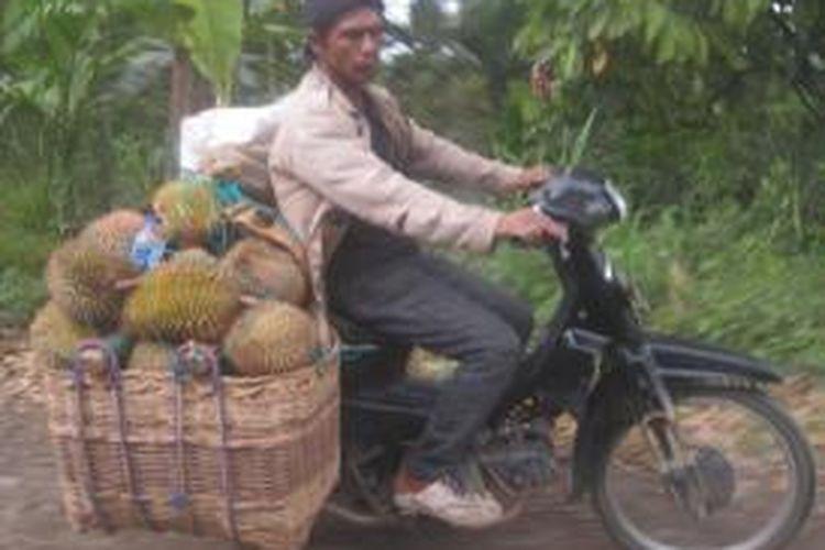 Agen pengumpul, sedang menurunkan durian yang ia beli dari warga Blang Ranto untuk seterusnya dipasarkan di Keude Krueng Mane, Aceh Utara. Minggu (12/1/2014).