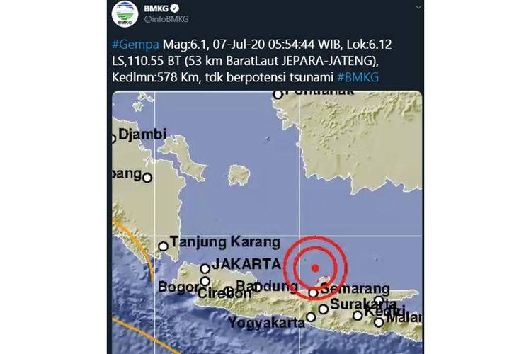 Tangkapan layar unggahan dari BMKG soal gempa bumi yang berpusat di Jepara, Jawa Tengah pada Selasa (7/7/2020) sekitar pukul 05.54 WIB.