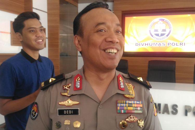 Kepala Biro Penerangan Masyarakat Humas Brigjen (pol) Dedi Prasetyo di Gedung Humas Mabes Polri, Jakarta, Kamis (25/4/2019).