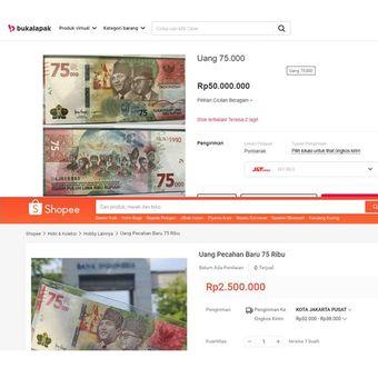 Tangkapan layar uang 75.000 di market place
