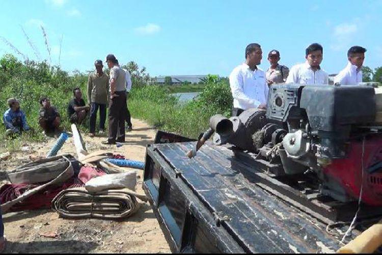Peralatan tambang timah apung di kawasan Citraland Pangkal Pinang, Kepulauan Bangka Belitung diamankan polisi.