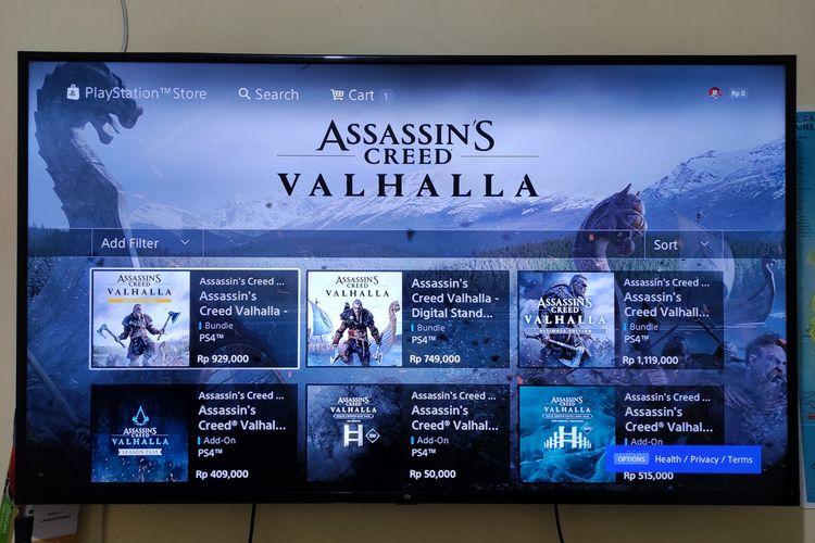 Tampilan Assassins Creed Valhalla di PS Store yang sudah bisa dibeli dan diunduh.
