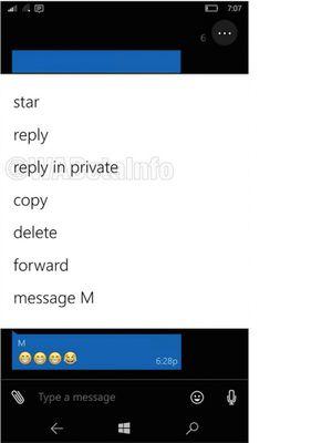 Screenshot fitur baru reply in private di WhatsApp beta Windows Phone yang dicabut hanya sehari setelah kedatangannya.