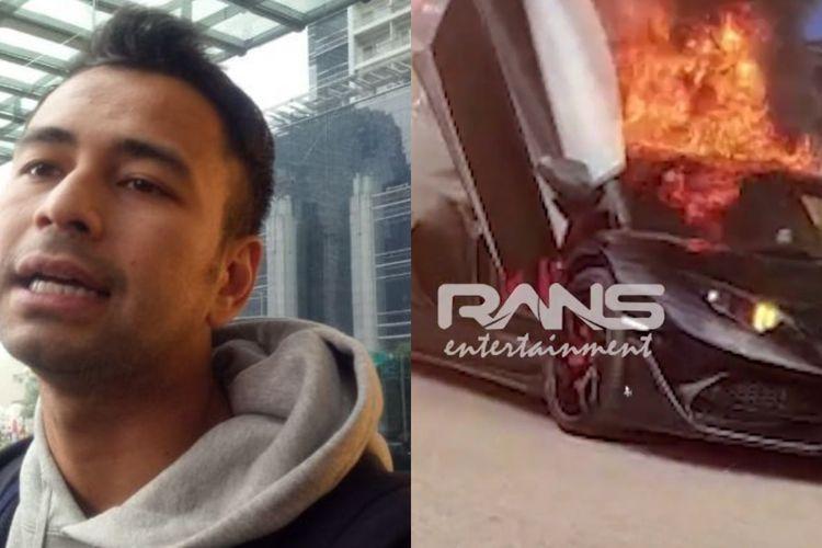 Raffi Ahmad dan Lamborghini Aventador miliknya yang terbakar.
