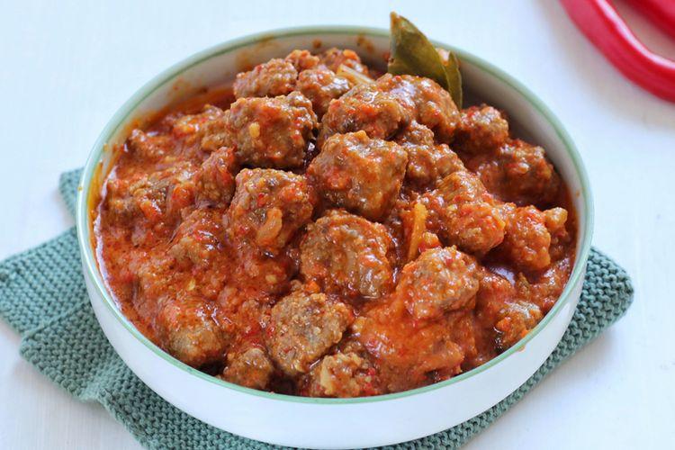 Ilustrasi sambal goreng kreni daging sapi.