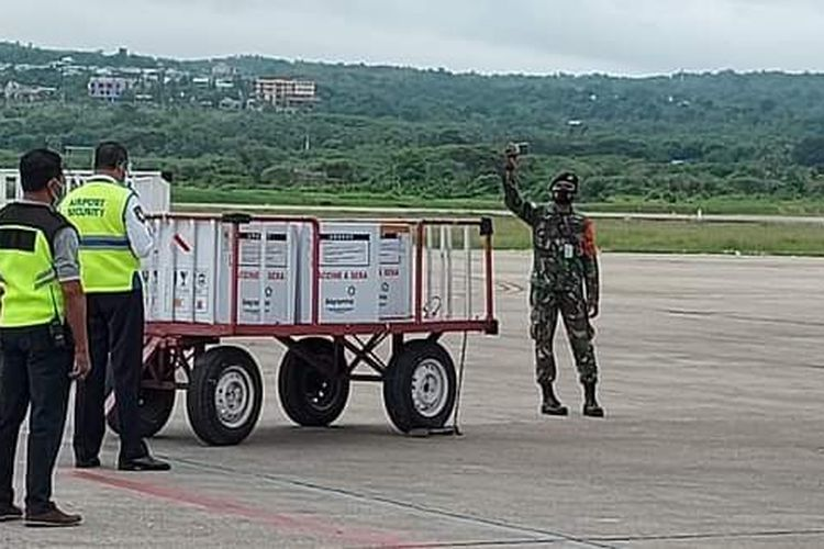 PHOTO:Vaksin Covid-19 untuk tenaga medis di NTT, saat tiba di Bandara El Tari Kupang, Selasa (5/1/2021)