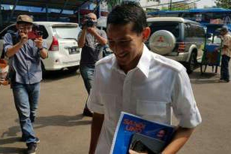 Bakal calon gubernur DKI Jakarta, Sandiaga Uno di DPD Demokrat DKI Jakarta, Sabtu (21/5/2016).