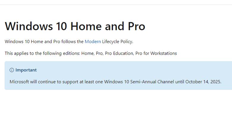 Pengumuman Windows 10 yang memuat catatan penyetopan dukungan Windows 10 Semi-Annual Channel pada 14 Oktober 2025.