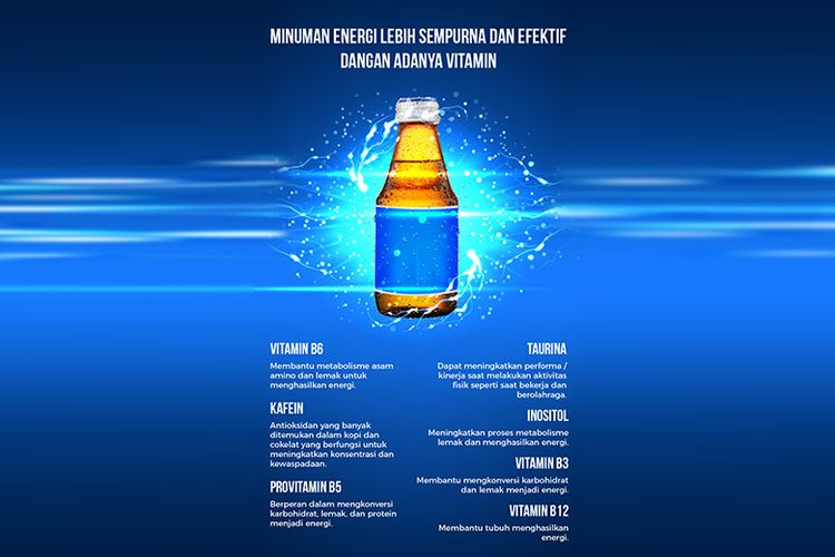 Berbagai kandungan yang terdapat dalam energy drink (Dok. salah satu produk minuman energi)