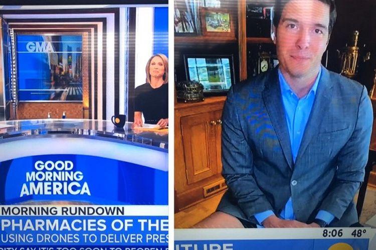 Will Reeve yang bekerja dari rumah, tampil tanpa celana panjang dan hanya memakai celana pendek selama sesi korespondensi di segmen kedua Good Morning America.