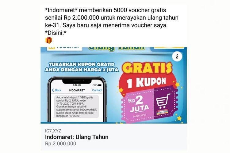 Status Facebook pemberian 5.000 voucher gratis senilai Rp 2 juta.