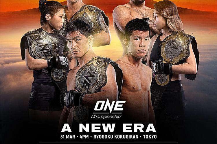 Mengambil tempat di Ryogoku Kokugikan, Tokyo, Jepang, pada hari Minggu, 31 Maret 2019, ONE: A NEW ERA akan menampilkan juara dunia MMA.