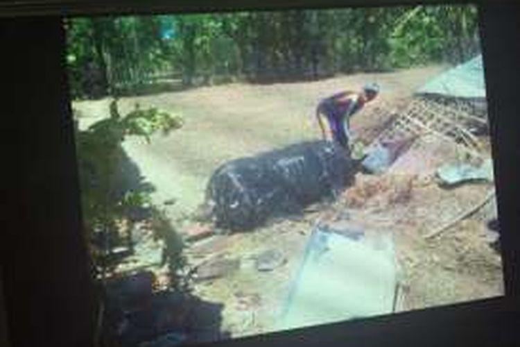 Benda asing jatuh dari pesawat di Desa Lombang, Kecamatan Gili Genting, Kabupaten Suemenep. Gambar ini diambil warga setempat menggunakan kamera handphone.