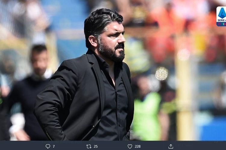Pelatih Napoli, Gennaro Gattuso, saat melihat tim kalah melawan Parma, Minggu (15/12/2019), dalam lanjutan giornata ke-16 Serie A Liga Italia.