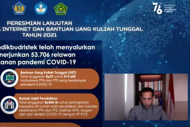 Mendikbud Ristek Nadiem Makarim saat menyampaikan bantuan kuota data internet dan bantuan UKT tahun 2021.