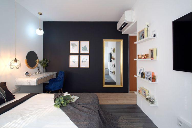 Warnai satu dinding dengan warna gelap
