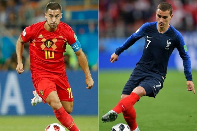 Eden Hazard dan Antoine Griezmann bakal beradu kecerdikan dan ketajaman dalam laga Perancis vs Belgia pada semifinal Piala Dunia 2018 di St. Petersburg, 10 Juli 2018.
