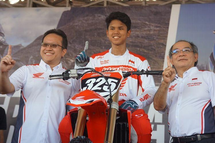 Muhammad Delvintor Alfarizi hadir menjadi wakil dari tim Astra Honda Racing Team (AHRT) pada kelas MX2 di MXGP Palembang, 6-7 Juli 2019.