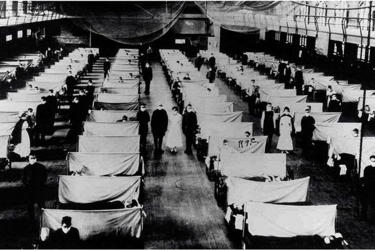 Metedo isolasi pasien yang terjangkit wabah juga diterapkan pada pandemi flu Spanyol tahun 1918.