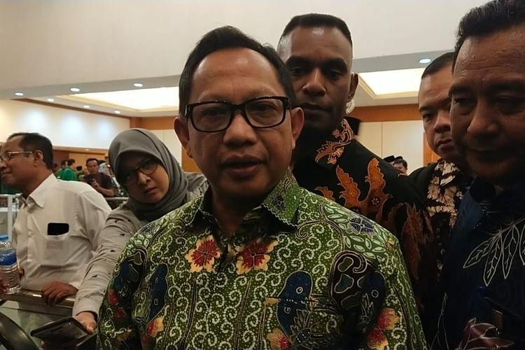 Menteri Dalam Negeri Tito Karnavian usai menghadiri Mukernas V PPP di Hotel Grand Sahid Jaya, Sabtu (14/12/2019).