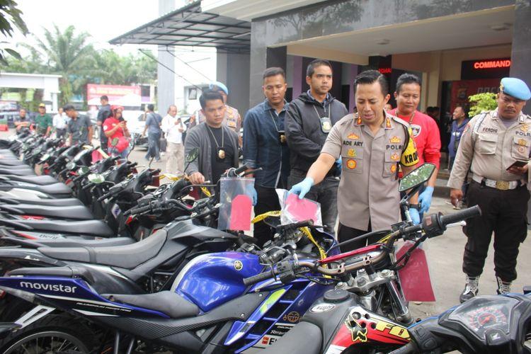 Barang bukti curanmor di Polresta Kota Tangerang, Kamis (12/12/2019).