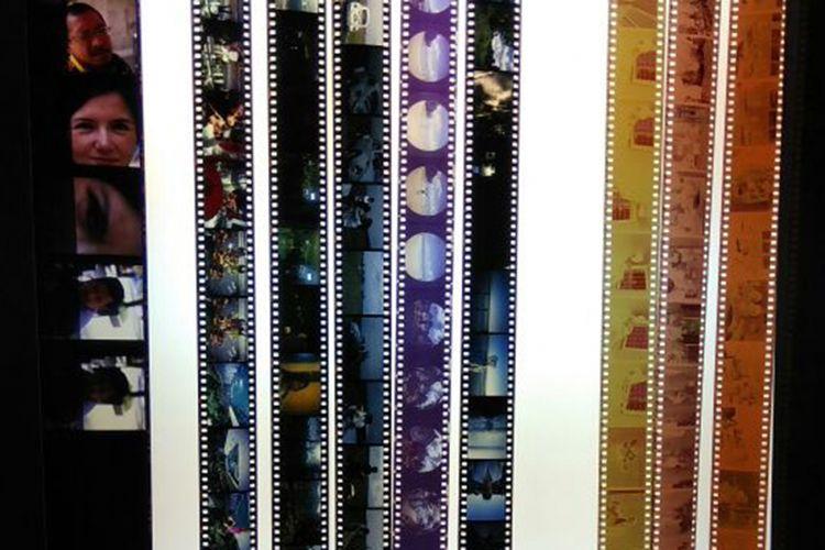 Contoh film berbeda ukuran dan tipe dalam keadaan sudah dicuci (develop). Lembaran dengan frame berukuran paling besar di ujung kiri merupakan film medium format positif. Lembaran-lembaran dengan frame kecil berwarna di tengah adalah film 35mm positif, sementara tiga lembar film di ujung kanan yang berwarna kuning dan cokelat adalah film 35mm negatif.
