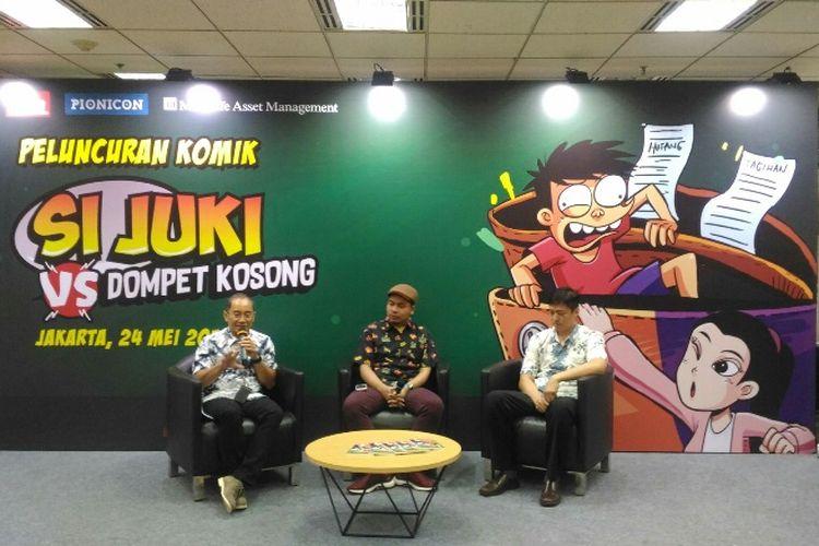 PT Manulife Aset Manajemen Indonesia (MAMI) meluncurkan komik edukasi finansial dan reksa dana bertajuk Si Juki vs Dompet Kosong, Kamis (24/5/2018).