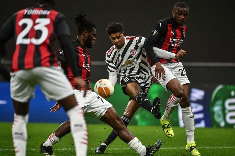 Jalannya pertandingan AC Milan vs Man United pada leg kedua 16 besar Liga Europa 2020-2021 di Stadion Giuseppe Meazza, Jumat (19/3/2021) dini hari WIB.