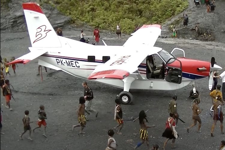 Pesawat Quest Kodiak 100 PK-MEC milik MAF, yang jatuh di Danau Sentani, Jayapura, Selasa (12/5/2020).