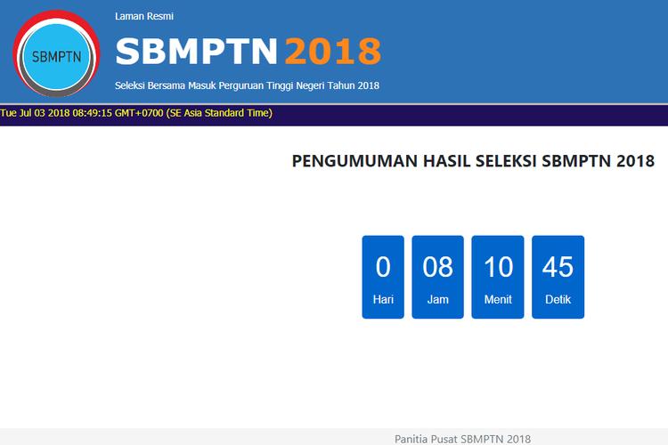 Laman pengumuman hasil SBMPTN
