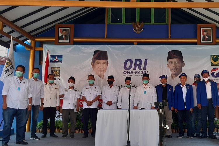 Deklarasi pasangan calon bupati dan wakil bupati Klaten, One Krisnata-Muhammad Fajri dalam Pilkada Serentak 2020 di Hotel Galuh Kecamatan Prambanan, Klaten, Jawa Tengah, Sabtu (27/6/2020).
